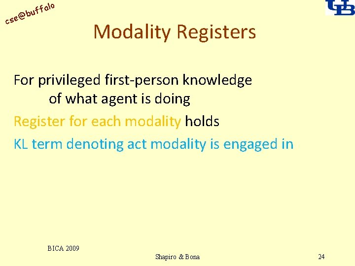 alo uff b @ cse Modality Registers For privileged first-person knowledge of what agent