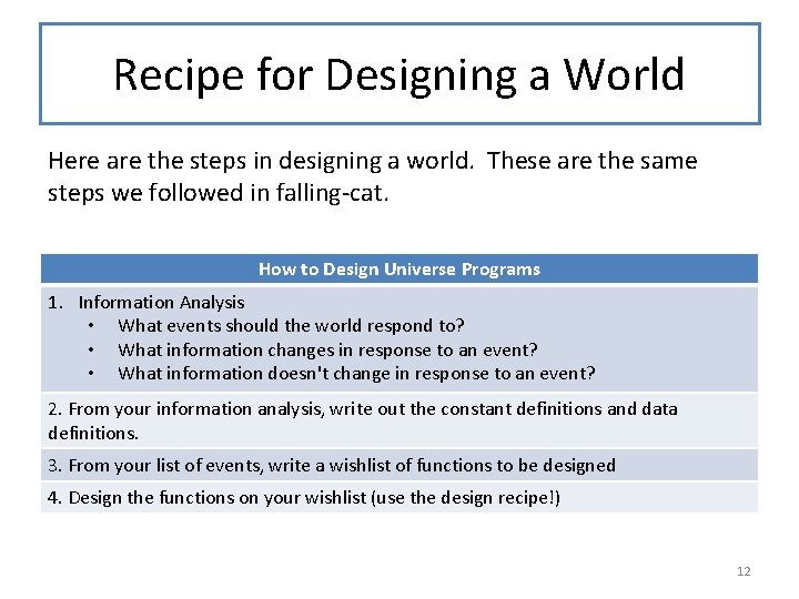 Recipe for Designing a World Here are the steps in designing a world. These
