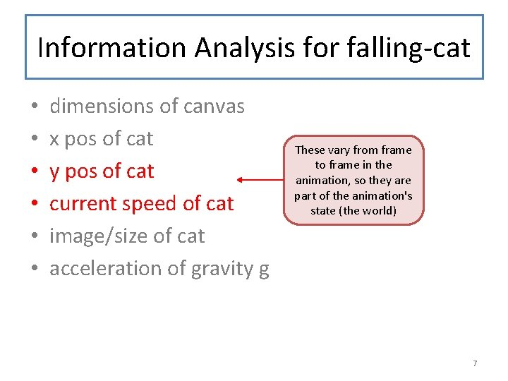 Information Analysis for falling-cat • • • dimensions of canvas x pos of cat
