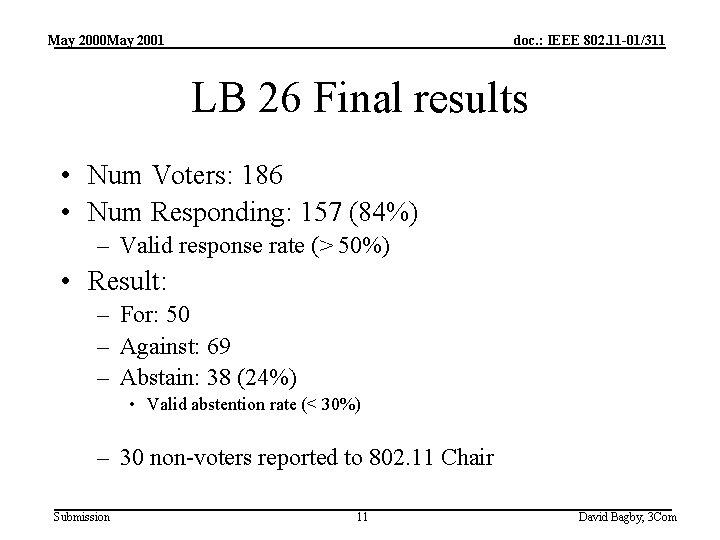May 2000 May 2001 doc. : IEEE 802. 11 -01/311 LB 26 Final results