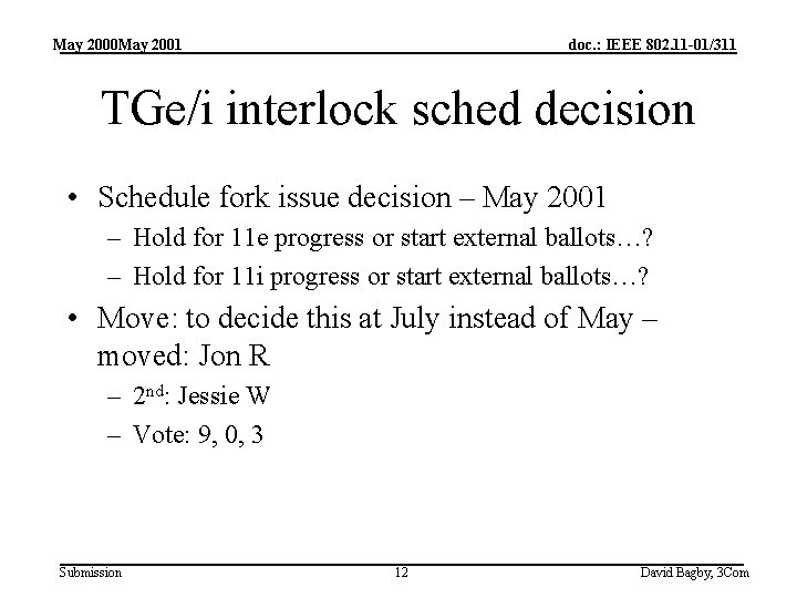 May 2000 May 2001 doc. : IEEE 802. 11 -01/311 TGe/i interlock sched decision