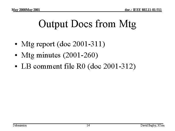 May 2000 May 2001 doc. : IEEE 802. 11 -01/311 Output Docs from Mtg