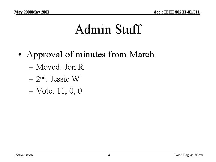 May 2000 May 2001 doc. : IEEE 802. 11 -01/311 Admin Stuff • Approval