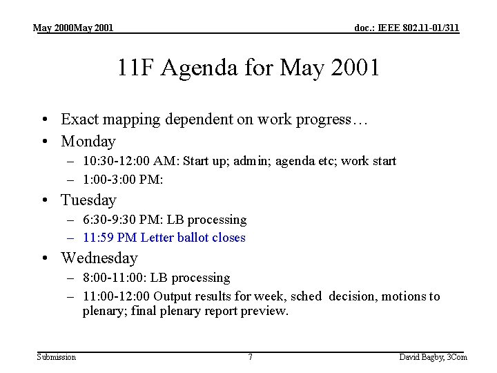 May 2000 May 2001 doc. : IEEE 802. 11 -01/311 11 F Agenda for