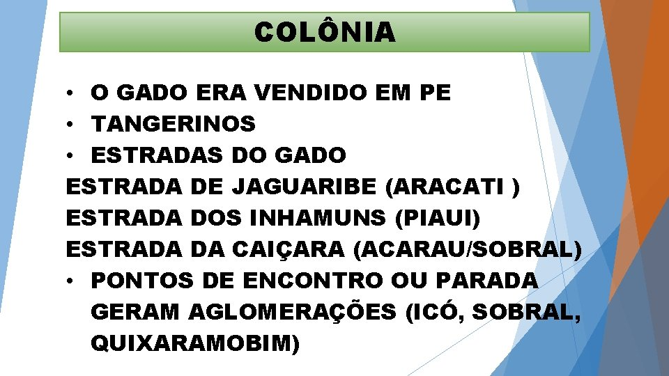 COLÔNIA • O GADO ERA VENDIDO EM PE • TANGERINOS • ESTRADAS DO GADO