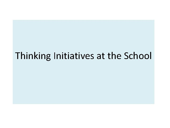 Thinking Initiatives at the School
