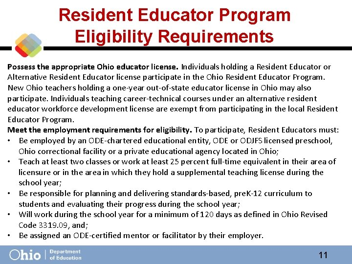 Resident Educator Program Eligibility Requirements Possess the appropriate Ohio educator license. Individuals holding a