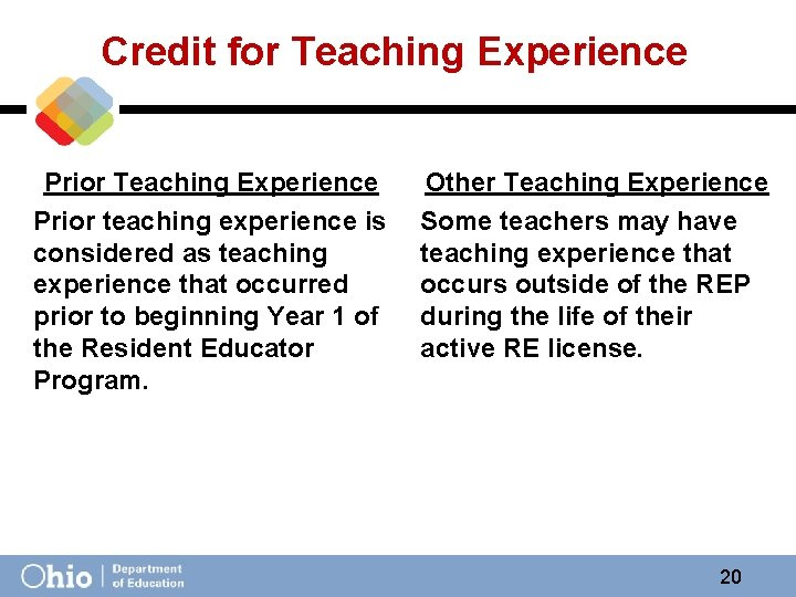 Credit for Teaching Experience Prior teaching experience is considered as teaching experience that occurred