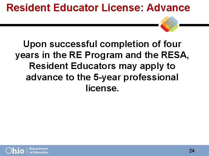 Resident Educator License: Advance Upon successful completion of four years in the RE Program