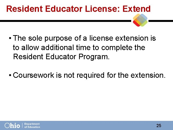 Resident Educator License: Extend • The sole purpose of a license extension is to