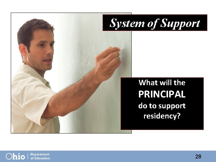 System of Support What will the PRINCIPAL do to support residency? 28
