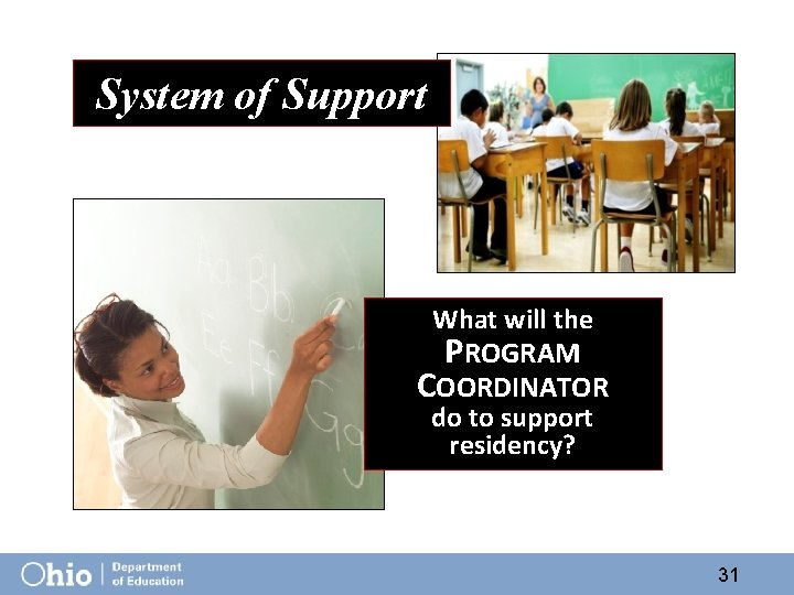 System of Support What will the PROGRAM COORDINATOR do to support residency? 31