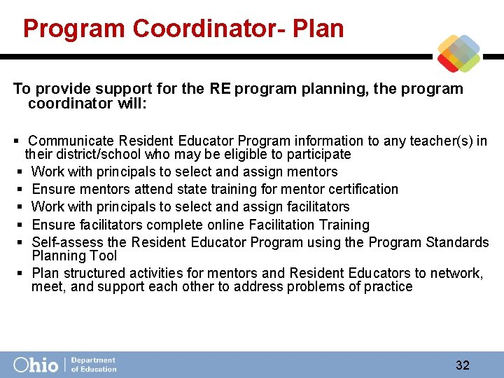 Program Coordinator- Plan To provide support for the RE program planning, the program coordinator