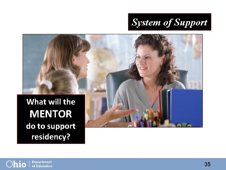 System of Support What will the MENTOR do to support residency? 35