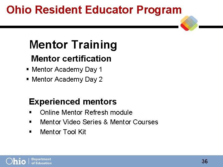 Ohio Resident Educator Program Mentor Training Mentor certification § Mentor Academy Day 1 §