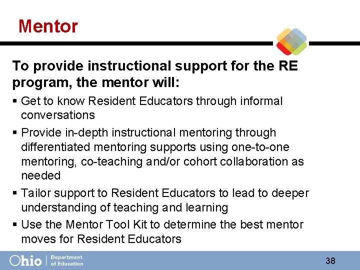Mentor To provide instructional support for the RE program, the mentor will: § Get