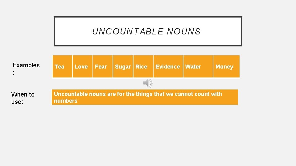 UNCOUNTABLE NOUNS Examples : Tea When to use: Uncountable nouns are for the things