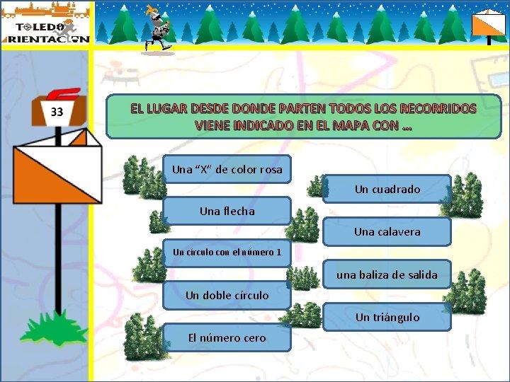 EL LUGAR DESDE DONDE PARTEN TODOS LOS RECORRIDOS VIENE INDICADO EN EL MAPA CON