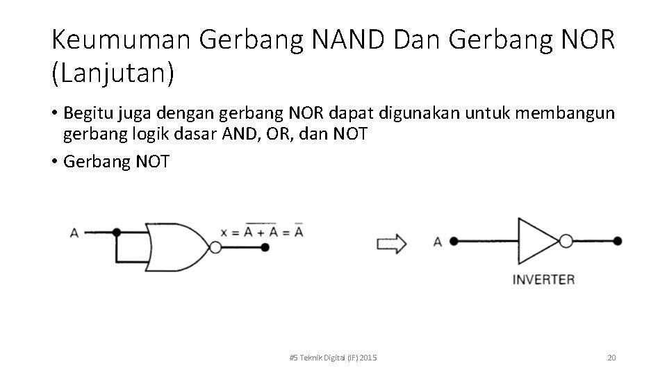 Keumuman Gerbang NAND Dan Gerbang NOR (Lanjutan) • Begitu juga dengan gerbang NOR dapat