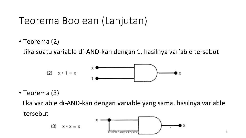 Teorema Boolean (Lanjutan) • Teorema (2) Jika suatu variable di-AND-kan dengan 1, hasilnya variable