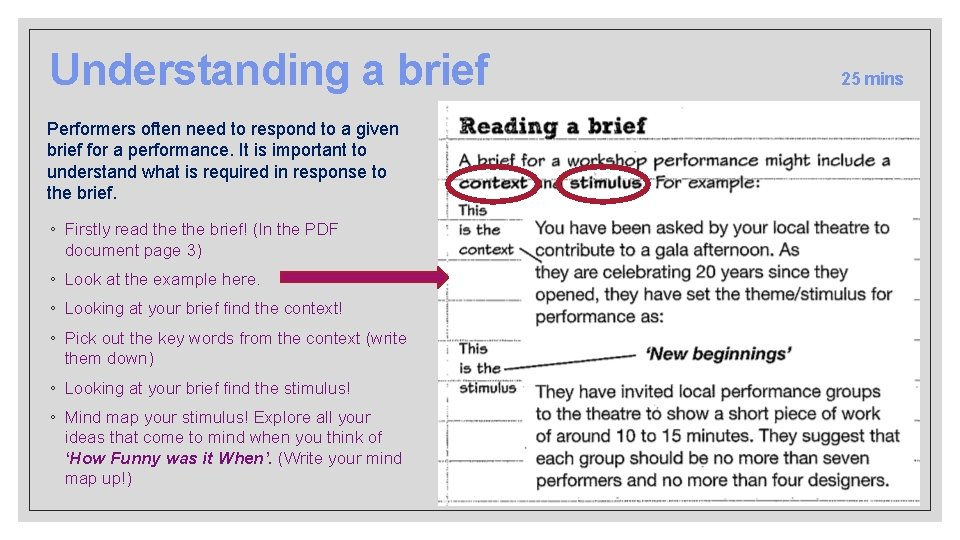 Understanding a brief Performers often need to respond to a given brief for a