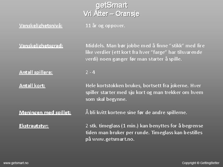get. Smart Vri Åtter – Oransje Vanskelighetsnivå: 11 år og oppover. Vanskelighetsgrad: Middels. Man