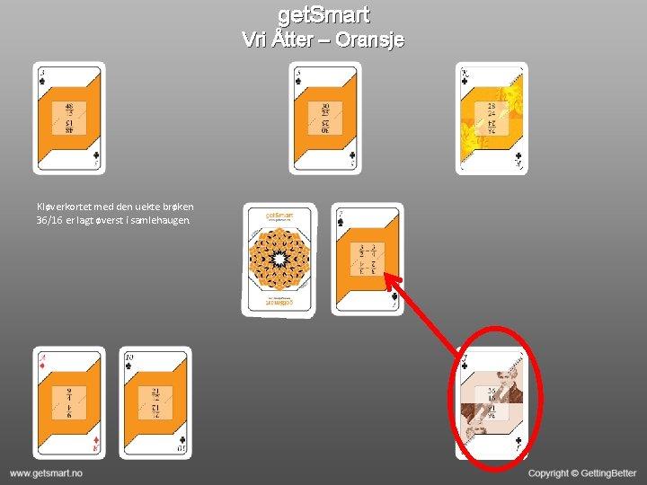 get. Smart Vri Åtter – Oransje Kløverkortet med den uekte brøken 36/16 er lagt