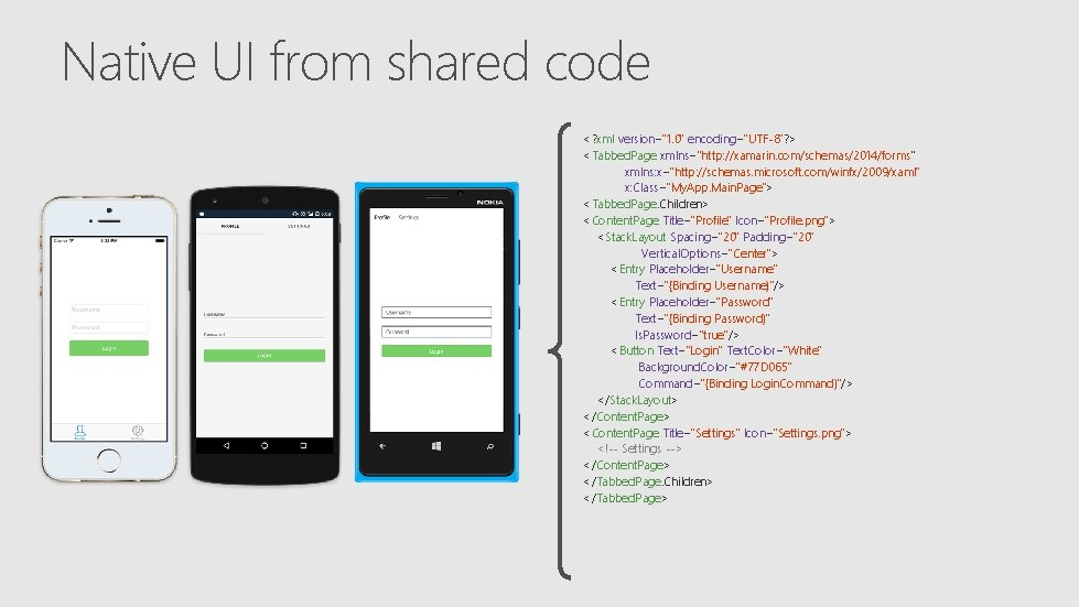 """Native UI from shared code <? xml version=""""1. 0"""" encoding=""""UTF-8""""? > <Tabbed. Page xmlns=""""http:"""