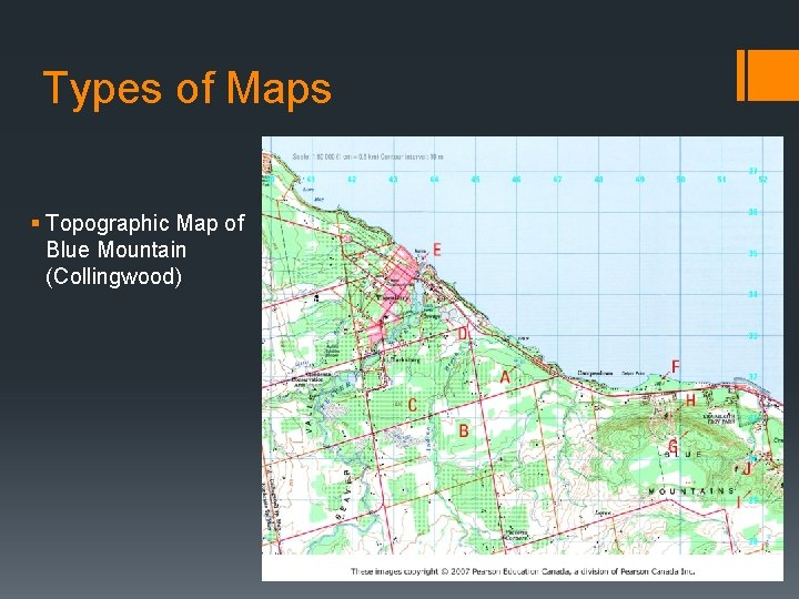 Types of Maps § Topographic Map of Blue Mountain (Collingwood)