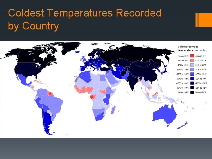 Coldest Temperatures Recorded by Country