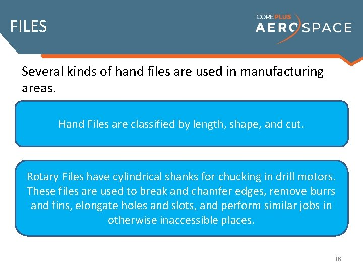 FILES Several kinds of hand files are used in manufacturing areas. Hand Files are