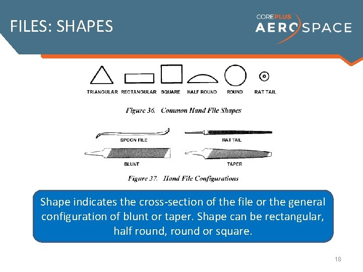 FILES: SHAPES Shape indicates the cross-section of the file or the general configuration of