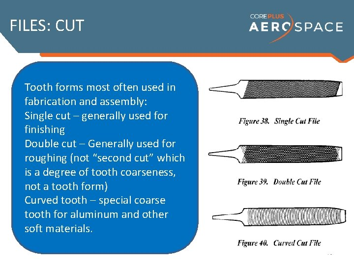 FILES: CUT Tooth forms most often used in fabrication and assembly: Cut describes the
