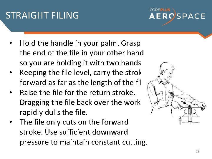 STRAIGHT FILING • Hold the handle in your palm. Grasp the end of the