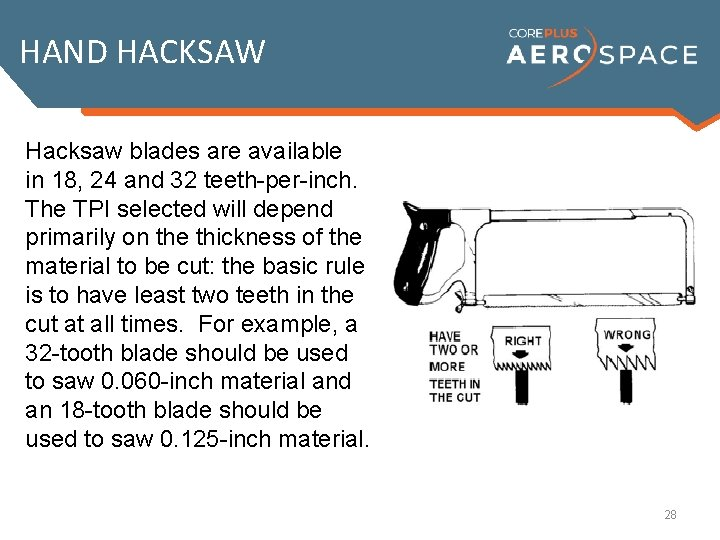 HAND HACKSAW Hacksaw blades are available in 18, 24 and 32 teeth-per-inch. The TPI