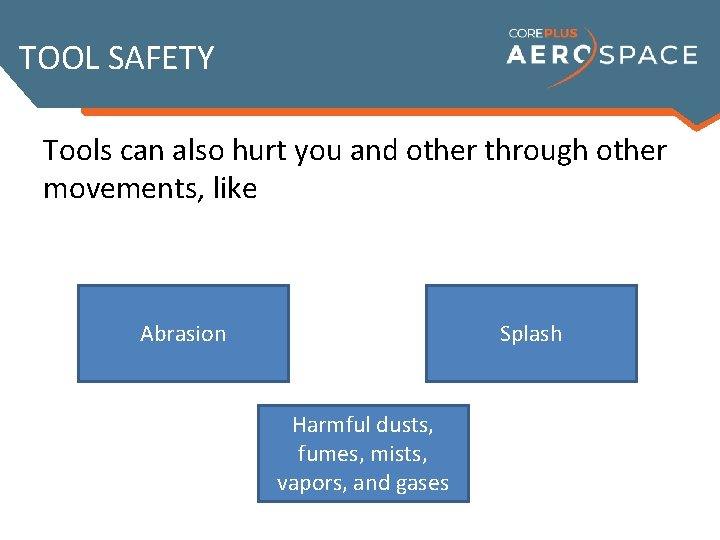 TOOL SAFETY Tools can also hurt you and other through other movements, like Abrasion