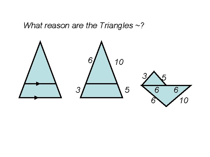 What reason are the Triangles ~? 6 10 3 3 5 5 6 6