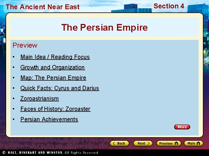 The Ancient Near East The Persian Empire Preview • Main Idea / Reading Focus