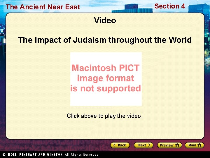 Section 4 The Ancient Near East Video The Impact of Judaism throughout the World