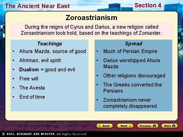 Section 4 The Ancient Near East Zoroastrianism During the reigns of Cyrus and Darius,