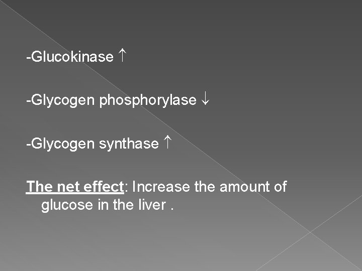 -Glucokinase -Glycogen phosphorylase -Glycogen synthase The net effect: Increase the amount of glucose in