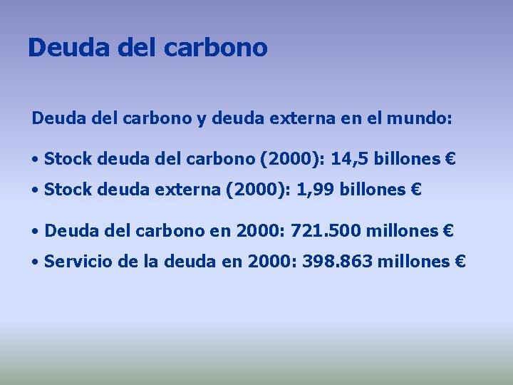 Deuda del carbono y deuda externa en el mundo: • Stock deuda del carbono