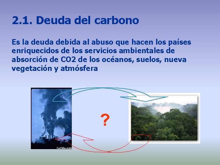 2. 1. Deuda del carbono Es la deuda debida al abuso que hacen los