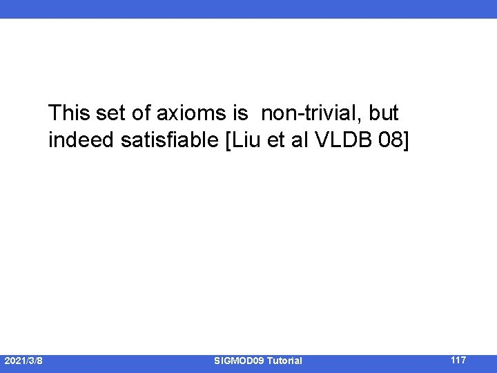 This set of axioms is non-trivial, but indeed satisfiable [Liu et al VLDB 08]