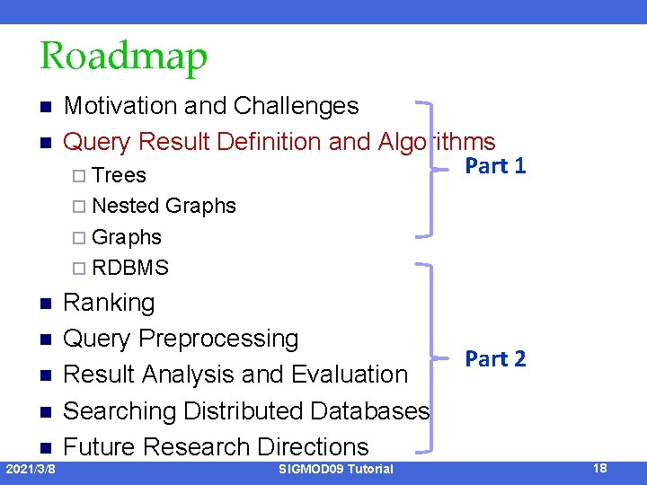 Roadmap n n Motivation and Challenges Query Result Definition and Algorithms Part 1 ¨