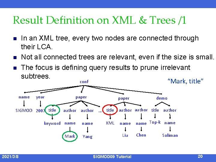 Result Definition on XML & Trees /1 n n n In an XML tree,