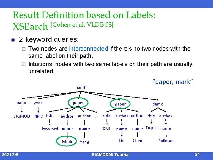 Result Definition based on Labels: XSEarch [Cohen et al. VLDB 03] 2 -keyword queries: