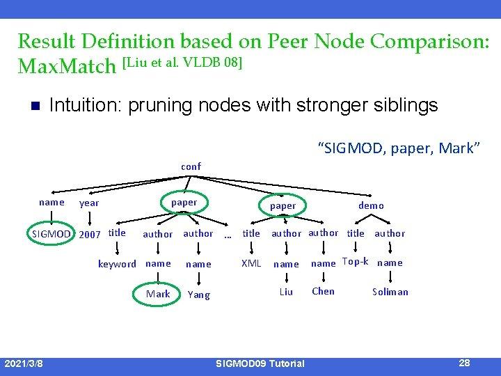Result Definition based on Peer Node Comparison: Max. Match [Liu et al. VLDB 08]