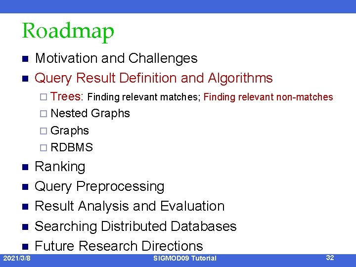 Roadmap n n Motivation and Challenges Query Result Definition and Algorithms ¨ Trees: Finding