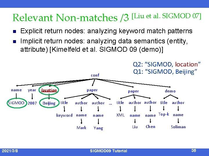 Relevant Non-matches /3 [Liu et al. SIGMOD 07] n n Explicit return nodes: analyzing